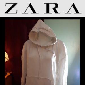 4/$15 Size S Zara oversized white basic hoodie